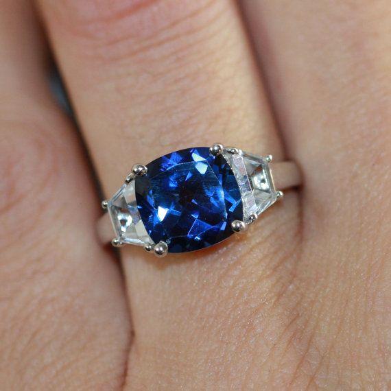 3 Stone Sapphire Engagement Ring in 10k White Gold Cushion Sapphire Wedding Ring September Birthstone Ring, Size 7 (Resizable)