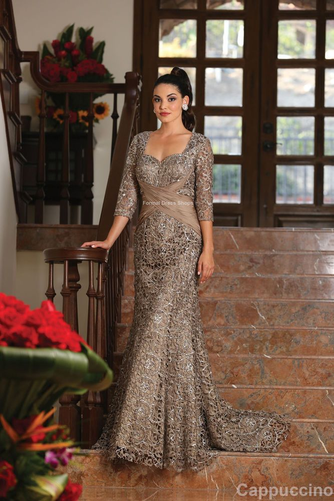 Details about CLASSY MOTHER of THE BRIDE GROOM LACE EVENING GOWN CHURCH 34 SLEEVES PLUS SIZE