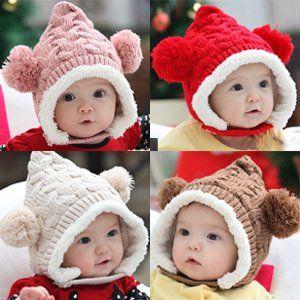Amazon.co.jp: 耳まであったか! ベビー ボンボン とんがり ニットキャップ ニット帽 女の子 男の子 赤ちゃん キッズ 子供 ニット 冬 帽子 (ブラウン): ベビー&マタニティ