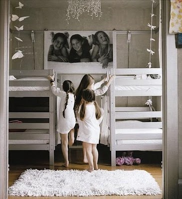 Love this idea--especially the giant photo and the SILVER bunkbeds!  From room for children, susanna salk (photo: melanie acevedo)