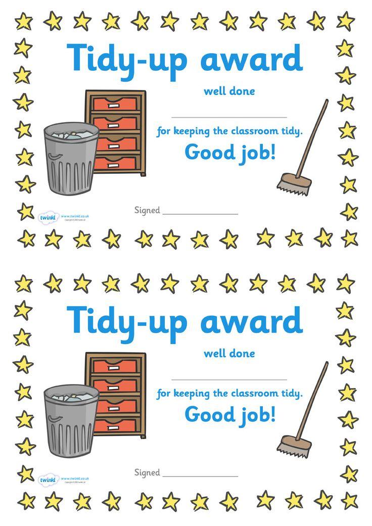 Twinkl Resources >> Tidy Up Award Certificate  >> Classroom printables for Pre-School, Kindergarten, Primary School and beyond! tidy up award, cleanliness, certificate, award, reward
