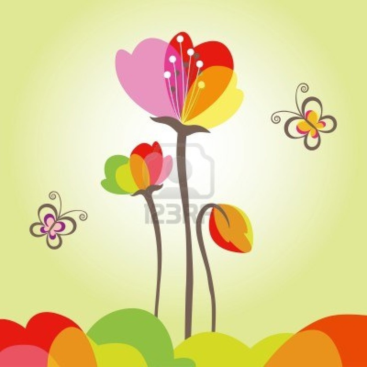 Abstract springtime colorful flower with butterfly Stock Photo