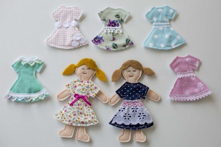 Felt dolls #diy #sew #paperdolls