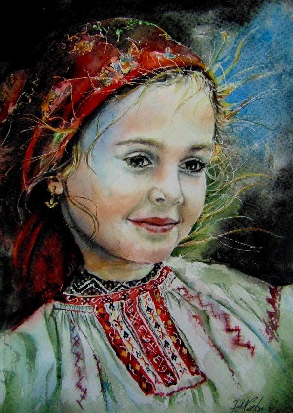 Little Romanian girl watercolor