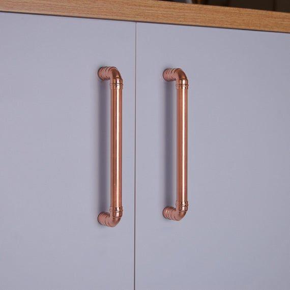Industrial Chic Copper Kitchen Door Handle Copper Drawer Etsy Copper Handles Copper Kitchen Kitchen Door Handles
