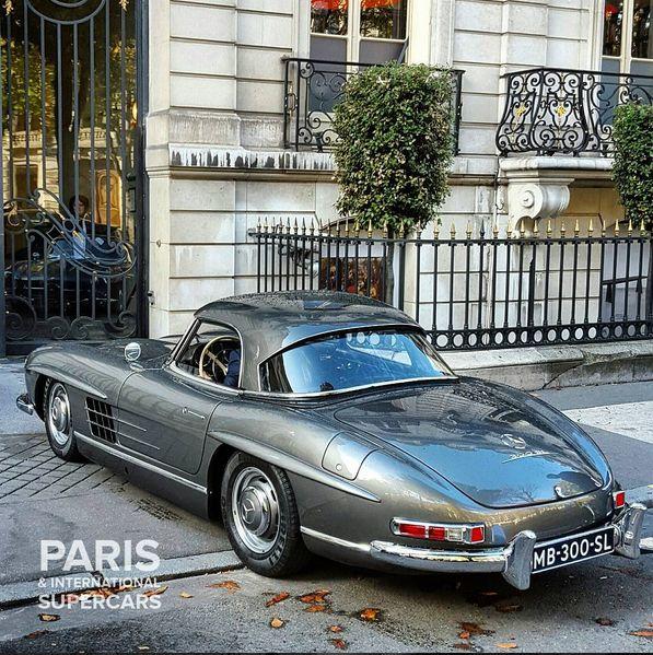 The legendary Mercedes Benz #300SL; 0-100: 9.0s / 222 HP. Picture credit: https://www.instagram.com/paris.intl.supercars/
