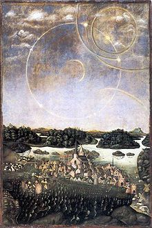 """The so-called """"Sun Dog Painting"""" (Vädersolstavlan) depicting Stockholm in 1535 and the celestial phenomenon at the time interpreted as an ominous presage"""