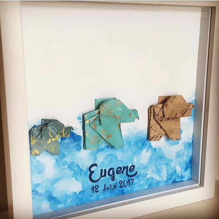 Origami elephants I made for a friends sons baptism love how it turned out! Similar listing on my etsy site #originalartwork #origamielephant #watercolor #personlisedgifts #uniquelyfoldeddreams #mumpreneur #giftideas #etsyshop #we_love_origami