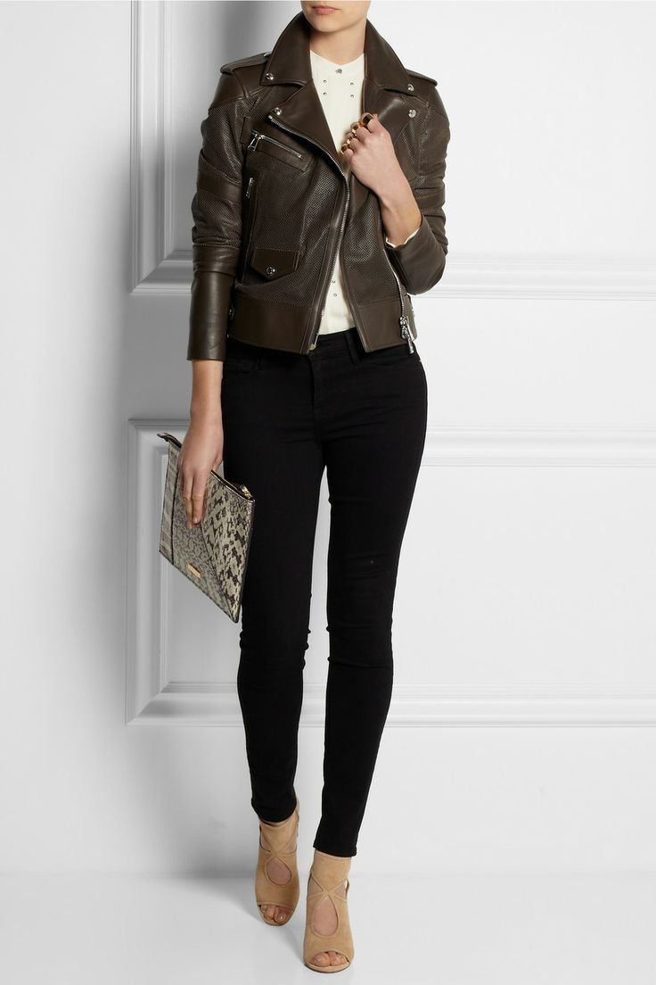 Belstaff | Clerkenwell perforated leather biker jacket | NET-A-PORTER.COM