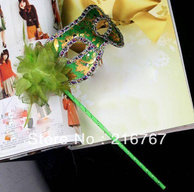 ヴィンテージハロウィン10pcs/lotfreeshipping6色仮面舞踏会のマスク花布マスクハンドヘルドチャイナドレス