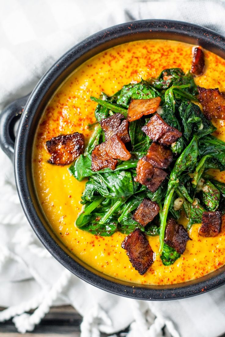 Smoked Paprika Split Pea Soup with Wilted Spinach and Turkey Bacon