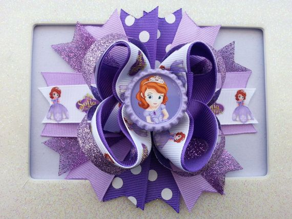 Sofia the First Inpired Hair Bow /Sofia the First Birthday Hair Bow on Etsy, $9.99