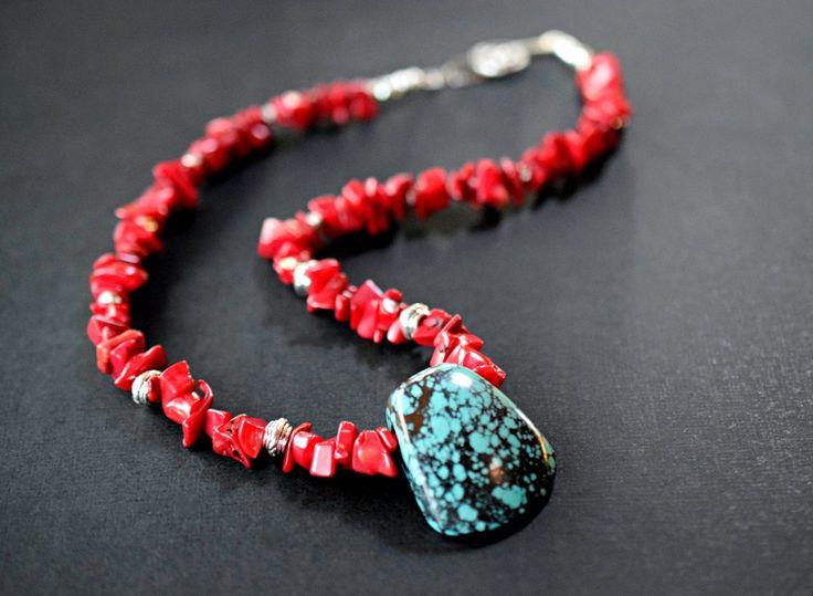 Grote rode koraal ketting met Turquoise hanger door MsBsDesigns