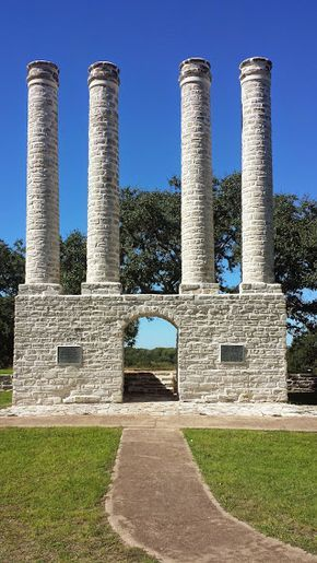 The pillars of Baylor Female College in Independence, TX. // Where it all started. #SicEm