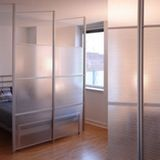 "Materials: Clear anodized aluminum, ribbed twin wall polycarbonate panelsPrice Point: $399 to $999 ""A modern room divider wall system that is easy to install. These room dividers that act as a stylish privacy screen for small space living. Great if you have a small room, tiny dorm room, small studio, loft, small apartment or small office that needs a temporary privacy screen or room makeover..."""