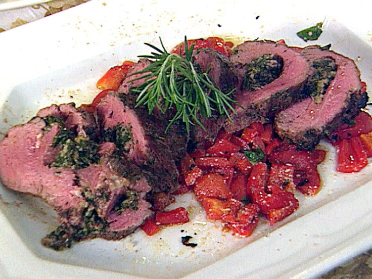 Shaker Herb-Marinated, Spinach-Stuffed Whole Beef Tenderloin recipe from FoodNation with Bobby Flay via Food Network
