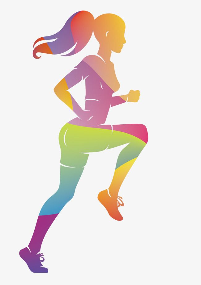 Vector Colorful Women Sports Runners, Sports Clipart ...