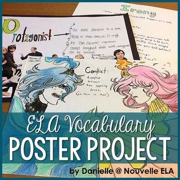 Students create posters for literary terms, drama vocabulary, and poetic devices. This bundle includes three different ready-to-print vocabulary lists, editable rubrics, and project instructions. You'll get amazing results that you can display for the unit, or
