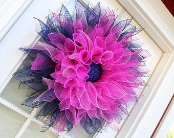 Corona, rosa azul Deco malla flor guirnalda, guirnalda de la flor de Dalia, decoración de la pared, puerta guirnalda, guirnalda de la flor, primavera, verano, caída, guirnaldas