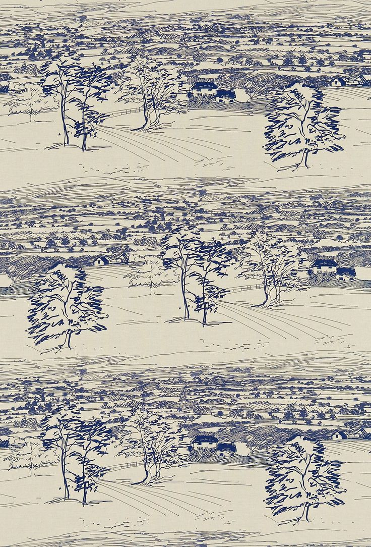 Sussex Downs (222396) - Sanderson Fabrics - A spontaneous line drawing of the countryside in Sussex. It is a full width landscape depicting trees in the foreground with the rolling Sussex Downs fading into the distance. Colour way shown Indigo. Please order a sample. Co-ordinting wallpaper is available.