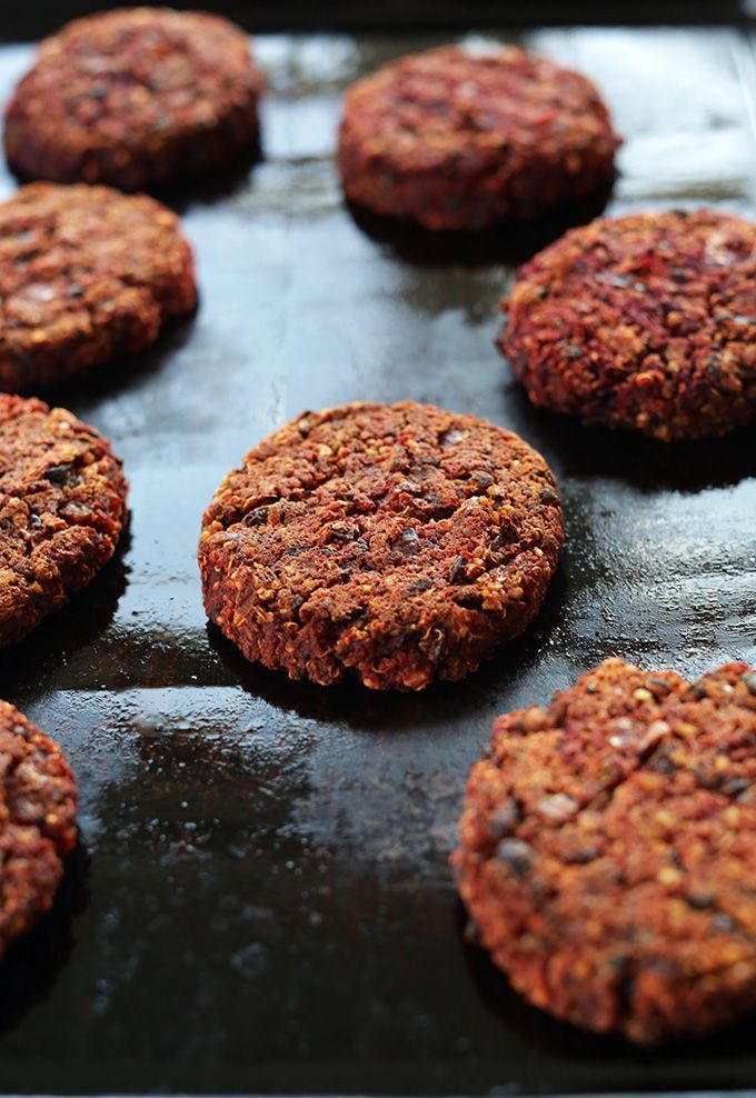 VEGAN Black Bean Beet Burgers! Tender and moist on the inside, slightly crisp on the outside with TONS of flavor and nutrition! #vegan #glutenfree