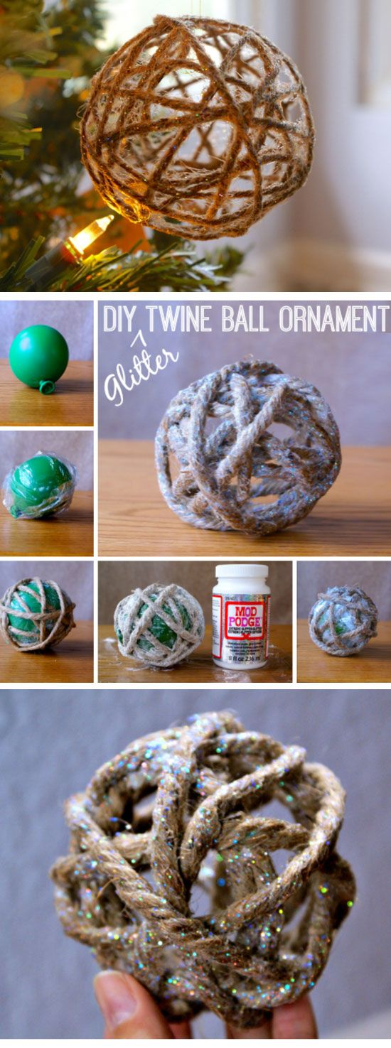 Glitter Twine Ball Ornament Tutorial | Click Pic for 20 DIY Christmas Tree Decorations to Make | Cheap Christmas Tree Decorating Ideas Dollar Stores