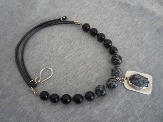 Leather cord and Snowflake Obsidian necklace. by Iridonousa