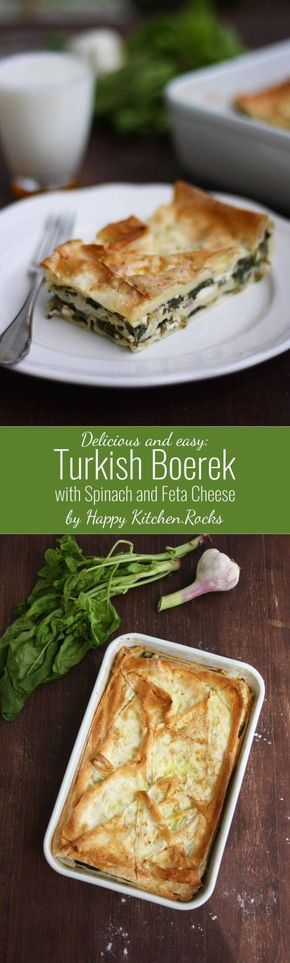 Easy and delicious Turkish Boerek with Spinach and Feta Cheese is great for takeout lunch or vegetarian dinner. It takes 20 minutes and 7 ingredients to prepare it.