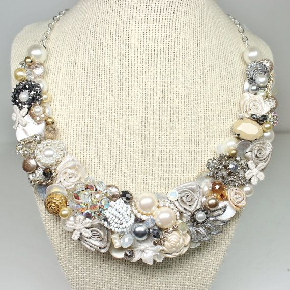 OOAK Vintage Statement Necklace Bridal Bib Necklace by BrassBoheme