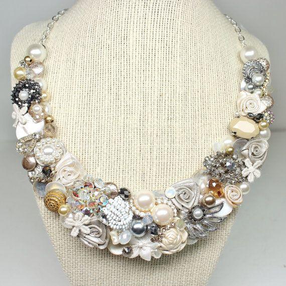 OOAK Vintage Statement Necklace Bridal Bib Necklace by BrassBoheme