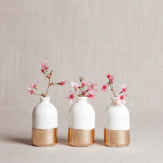 White  Gold Minimalist Bud Vases // Set of by honeycombstudio