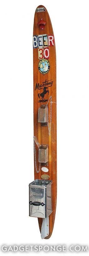 """Repurposed Vintage Water Ski """"BEER 30"""" #2 Beer & Soda Bottling Opening Station - JUNKMARKET Style"""