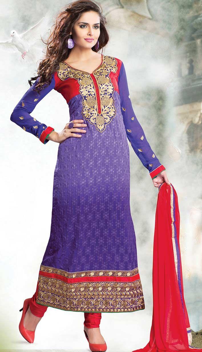 Get Latest Indian Designer Purple Georgette Churidar Kameez #Pakistani Dresses Online  #Price INR- 5134 Link- http://alturl.com/45ek8