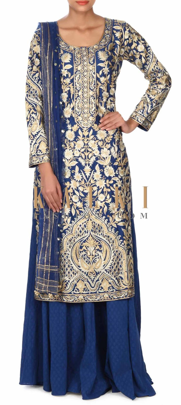 Buy this Royal blue straight suit adorn in zari embroidery only on Kalki