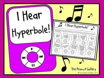 FREE..I Hear Hyperbole!...English Language Arts, Reading 2nd, 3rd, 4th, 5th, 6th, Homeschool Worksheets, Activities, Literacy Center Ideas..This figurative language practice page adds some extra fun for your students by allowing them to color code the MP3 players containing hyperbole. Both the sheet and the answer key are included