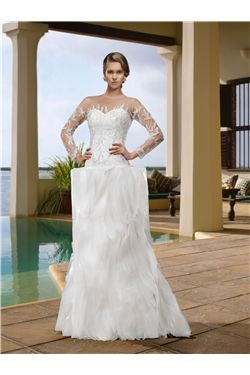 Hall Spring Long Sleeves Winter Button Floor-Length Fall Beading Wedding Dress