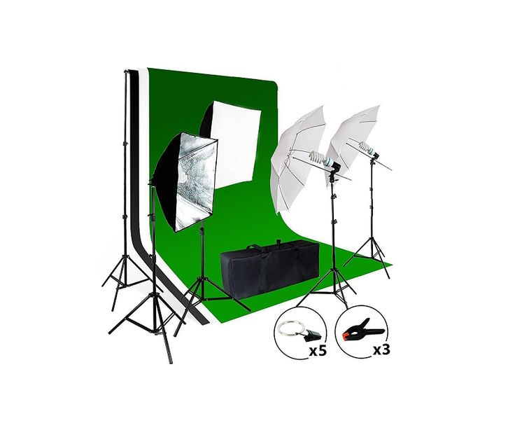 New Continuous Photo Studio Portable Video Lighting Kit Background Umbrella Set - $161.69 - 161.69