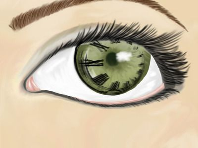 Eye See Time: Original media from The Media League team Power On, vegreville composite high school, Vegreville, AB, CA. eye, clock, roman numerals, art, high school, The Media League, original.