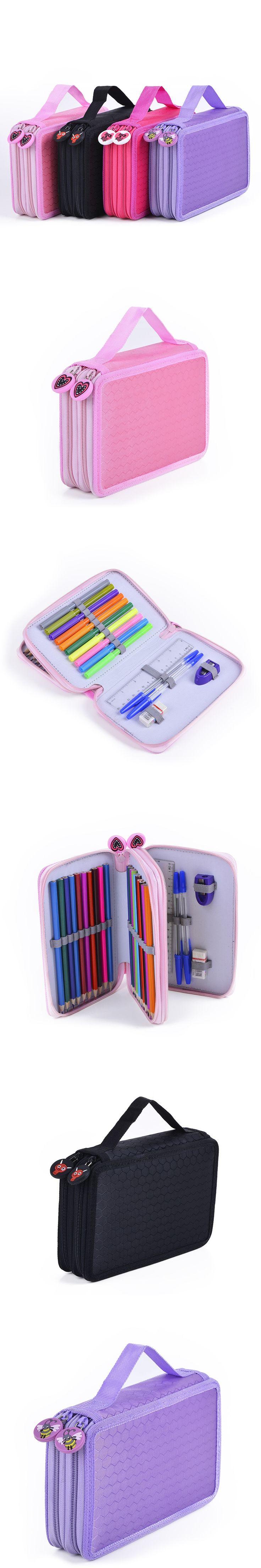 Sketch School Pencil Case Large Zipper Multilayer Hole Pencilcase Kids Boys  Girls Pen Bag Set Multifunction