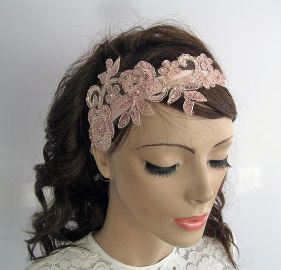 Pink Applique Lace Bridal Hair Fascinator. by MammaMiaBridal, $43.00