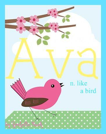 Baby Girl Name: Ava. Meaning: Like a Bird. Origin: Latin; Persian; Germanic. http://www.pinterest.com/vintagedaydream/baby-names/