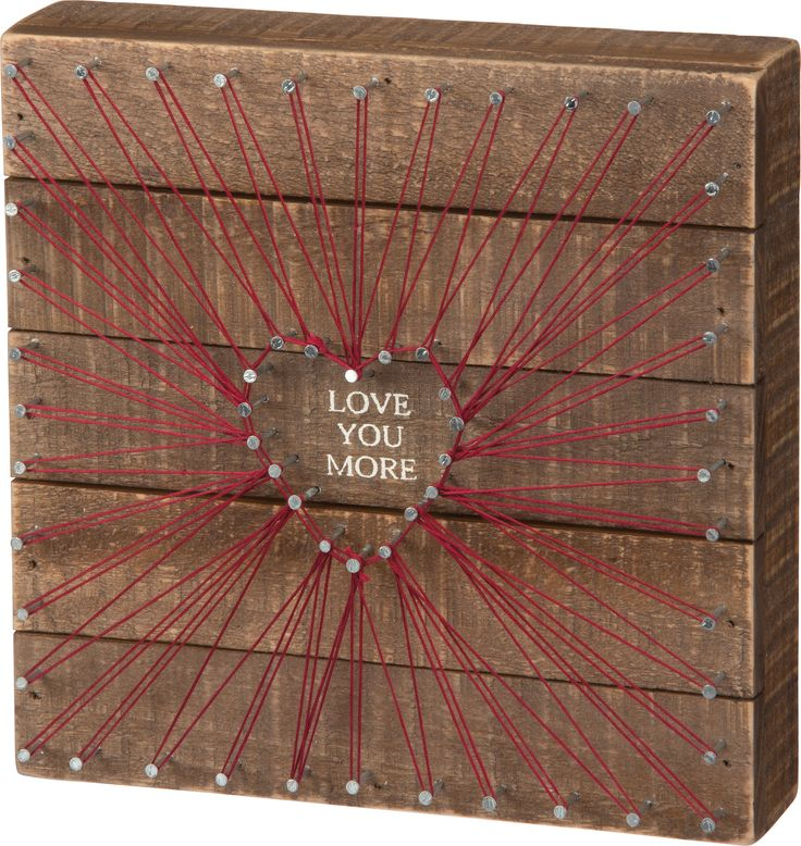 Love You More - String Art Plank Board Box Sign - 8-in