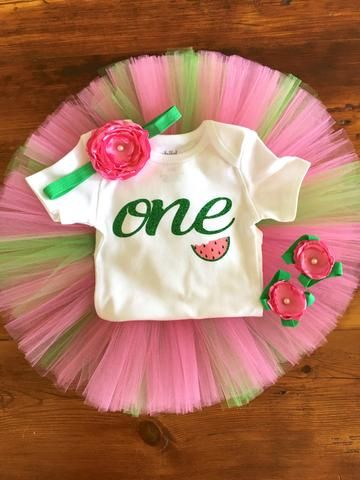 "Watermelon ""One in a Melon"" Birthday Outfit – Tutu Cute By Carrie"