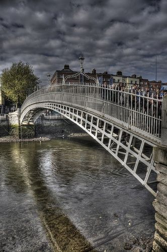 The Ha'penny Bridge, known later for a time as the Penny Ha'penny Bridge, and officially the Liffey Bridge, is a pedestrian bridge built in 1816 over the River Liffey in Dublin, Ireland. Made of cast iron, the bridge was cast at Coalbrookdale in Shropshire, England.
