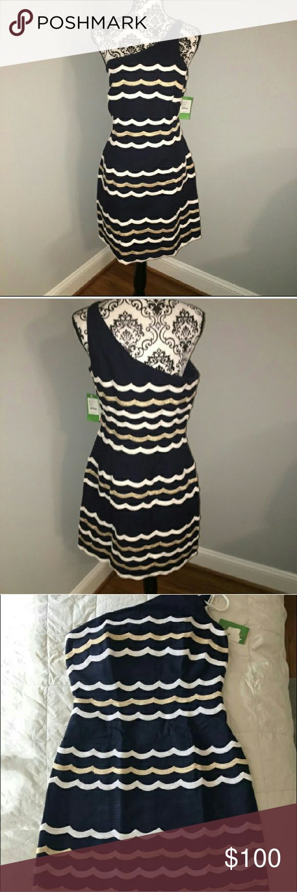 NWT Lilly Pulitzer Taylar Dress Scallopy Stripey Beautiful dress.  True navy with white and gold scallop stripes.  I LOVE this dress.  Just selling because it's too small on me.  Retails for MSRP $299. Lilly Pulitzer Dresses One Shoulder