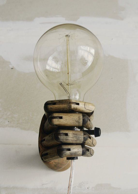 'Pinocchio' Wood Mannequin Hand Wall Lamp via Etsy