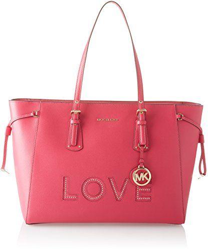 eaa14067c465 Michael Michael Kors Voyager Leather Love Large Top Zip Tote Handbag (Ultra  Pink)