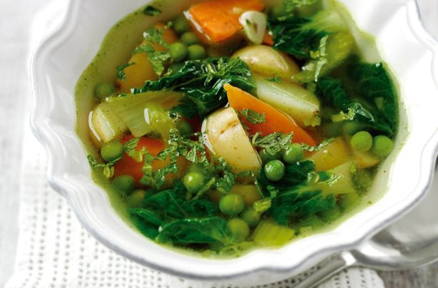 Homemade spring vegetable soup