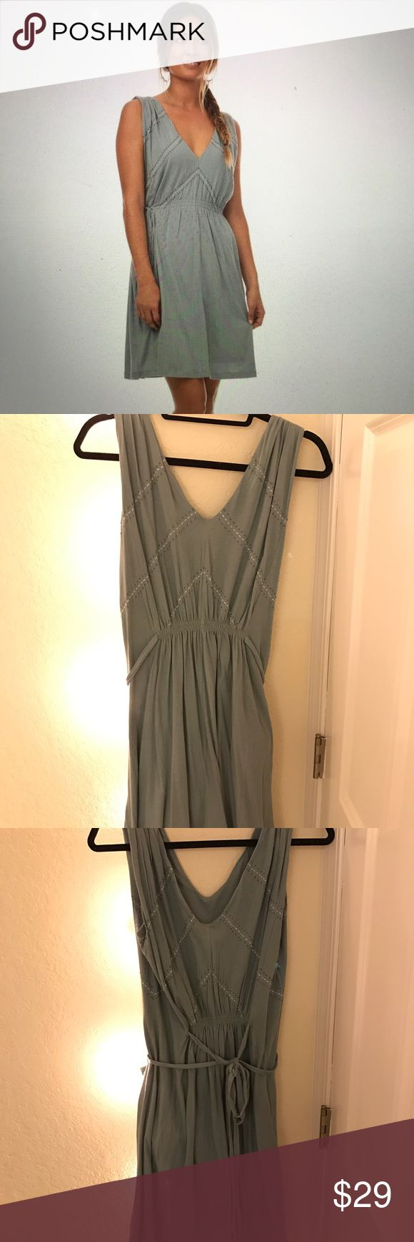 """Synergy blue chevron dress """"Chevron stitch Julia dress"""" SIZE XS worn once in a wedding. Ethical clothing company environmentally friendly and a super soft dress! Like new with no stains or rips. Has adjustable drawstring at the waist that ties on the sides or in the back. Synergy Organic Clothing Dresses"""