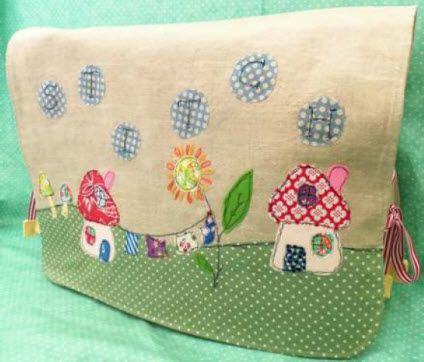 Cute design on a sewing machine cover, but think it would work well on a bag too